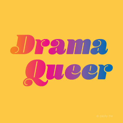 "t-shirt design with the text ""drama queer"""
