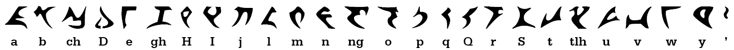 The Klingon pIqaD alphabet by qurgh, based on the KLI (Klingon Language Institute) original from 1989