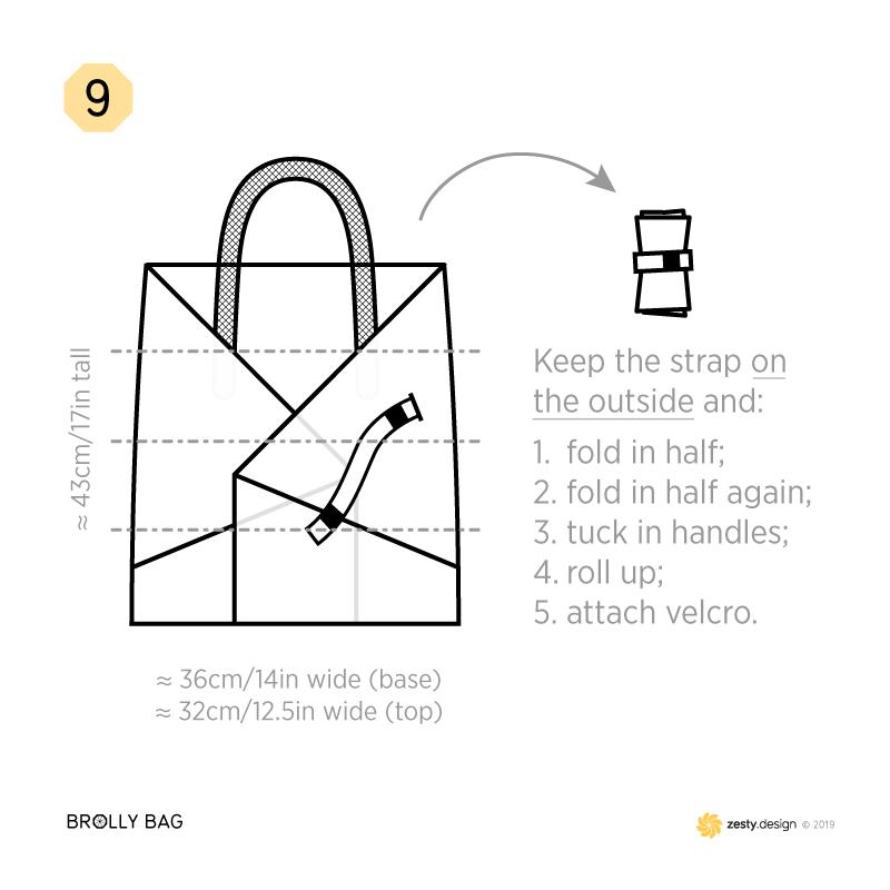 How to make an umbrella bag (brolly bag) – step 9